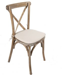 Rustic Oak Crossback chair with linen tie on seat pad - Jollies Commercial Furniture