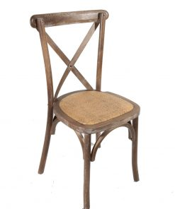 Rustic Oak Crossback chair with rattan seat pad - Jollies Commercial Furniture
