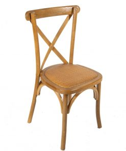 Warm Oak crossback chair with rattan seat pad - Jollies Commercial Furniture