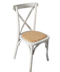 Whitewashed Oak crossback chair with rattan seat pad - Jollies Commercial Furniture