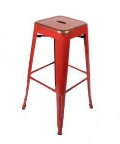 Red vintage style tolix stool - Jollies commercial furniture
