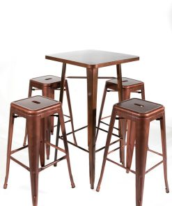 Copper tolix style bar table and stool set - Jollies Commercial Furniture