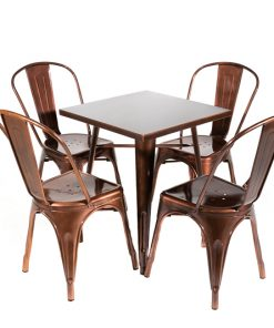 Copper tolix style table and chair set- Jollies commercial furniture