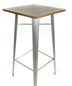 Galvanised tolix style bar table (Wood top) - Jollies commercial furniture