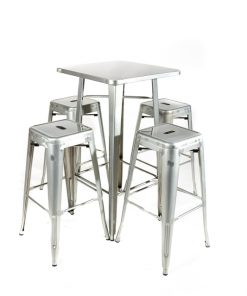 Galvanised tolix style bar table and stool set - Jollies Commercial Furniture