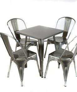 Gunmetal tolix style table and chair set- Jollies commercial furniture