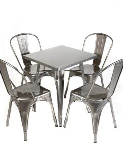 Galvanised tolix style table and chair set- Jollies commercial furniture