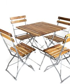 Square wooden bistro table & chair set - Jollies commercial furniture