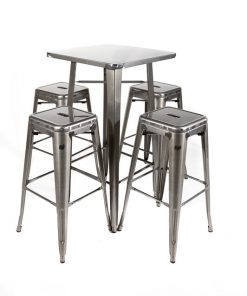 Gunmetal tolix style bar table and stool set - Jollies Commercial Furniture