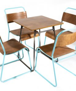 Blue retro canteen table and chair set - Jollies commercial furniture