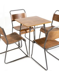 Gunmetal retro canteen table and chair set - Jollies commercial furniture