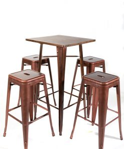 Copper tolix style bar table (wood top) and stool set - Jollies Commercial Furniture