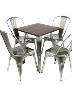 Galvanised tolix style table (wood top) and chair set- Jollies commercial furniture