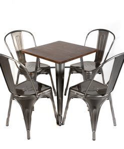 Gunmetal tolix style table (wood top) and chair set- Jollies commercial furniture