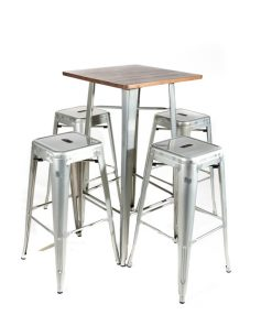 Galvanised tolix style bar table (wood top) and stool set - Jollies Commercial Furniture