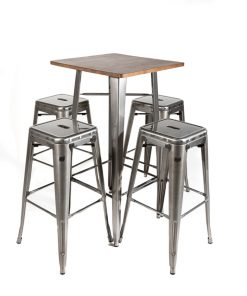 Gunmetal tolix style bar table (wood top) and stool set - Jollies Commercial Furniture